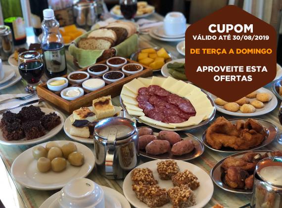 Promo��o de ter�a a domingo valido at� 30/08/2019 - Cafe Colonial para 1 pessoa de R$80,00 por apenas R$49,90