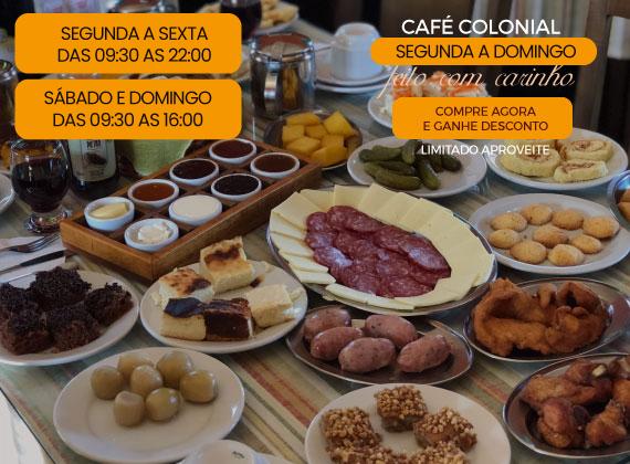 Promo de segunda a domingo - Cafe Colonial para 01 pessoa de R$90,00 por apenas R$49,90
