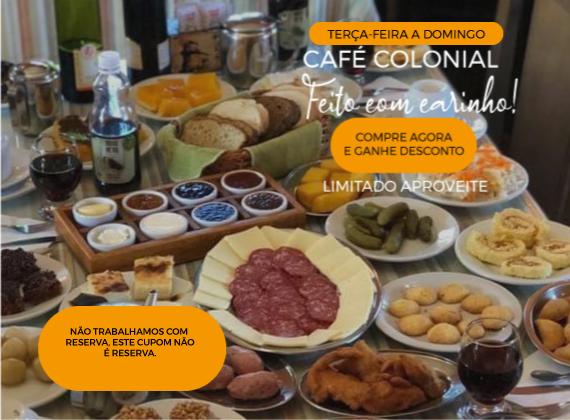 Promo de terca-feira a domingo - Cafe Colonial para 02 pessoas de R$180,00 por apenas R$99,80